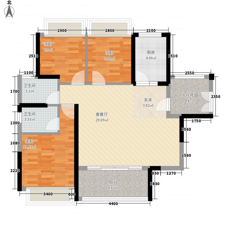 半岛1号五期15.00㎡A3户型3室2厅2卫1厨