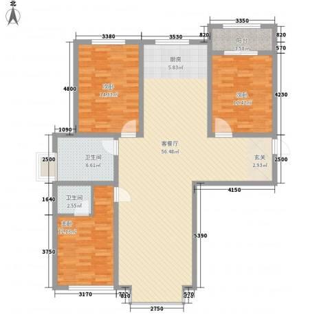 锦江花园五区3室1厅2卫0厨152.00㎡户型图