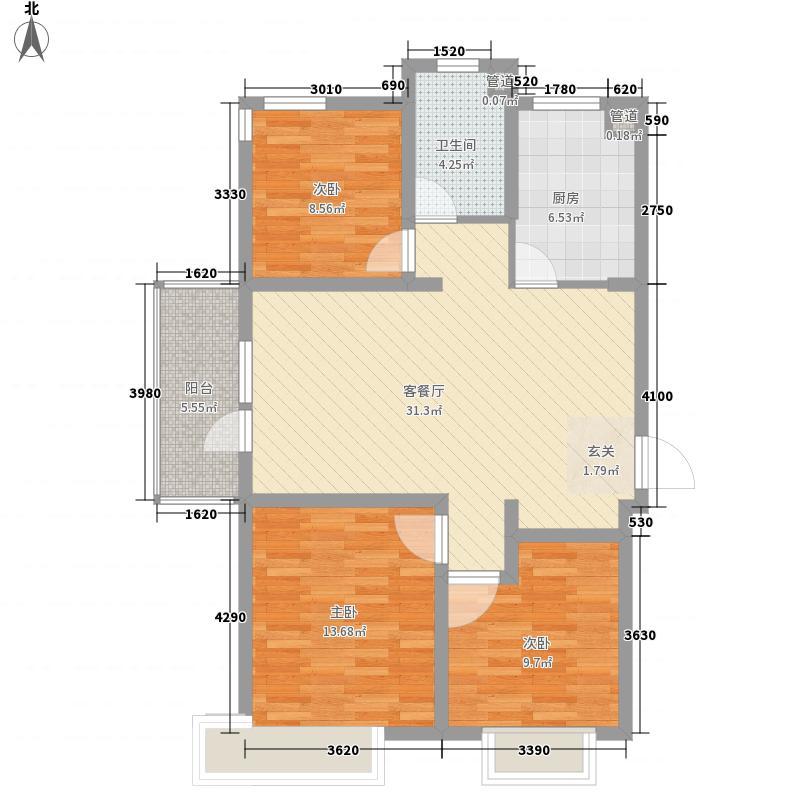 海信花伴里3室1厅1卫1厨114.00㎡户型图
