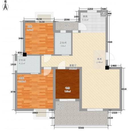 大为农博家园3室1厅2卫0厨126.00㎡户型图