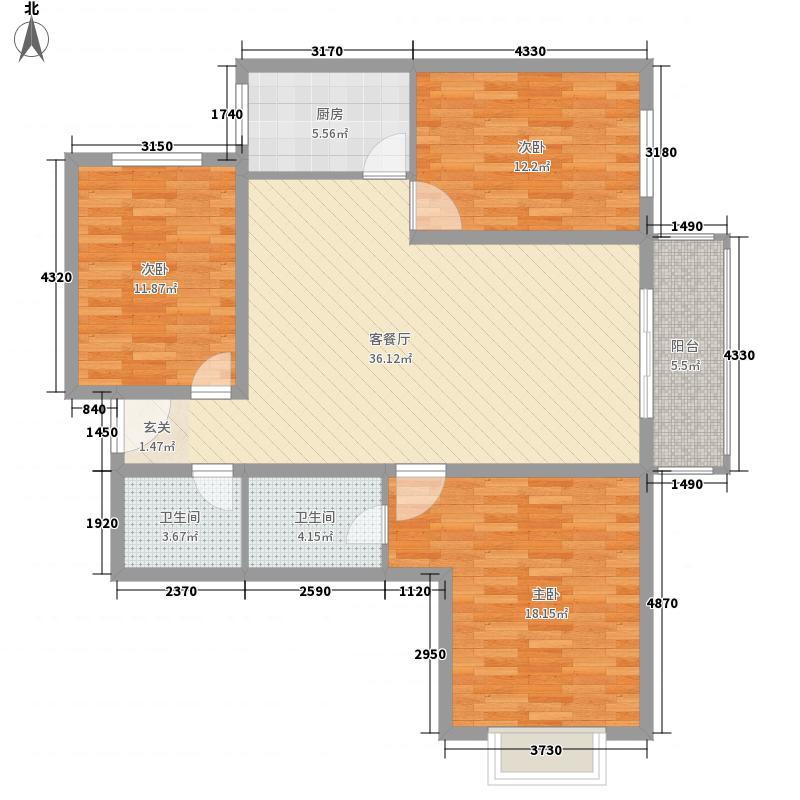 晋阳・峰�3室1厅2卫1厨137.00㎡户型图