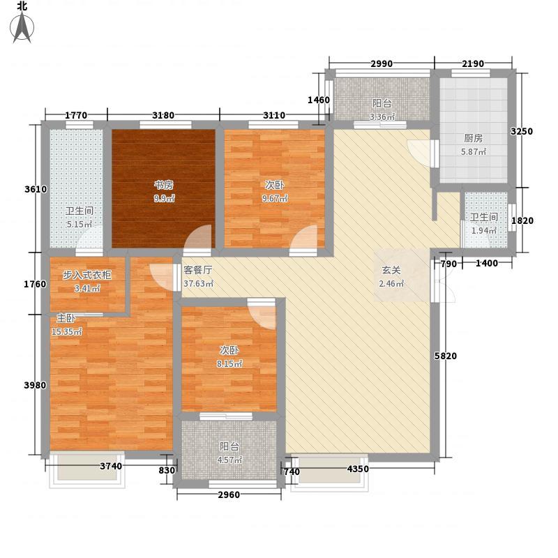 金业缇香山4室1厅2卫1厨152.00㎡户型图