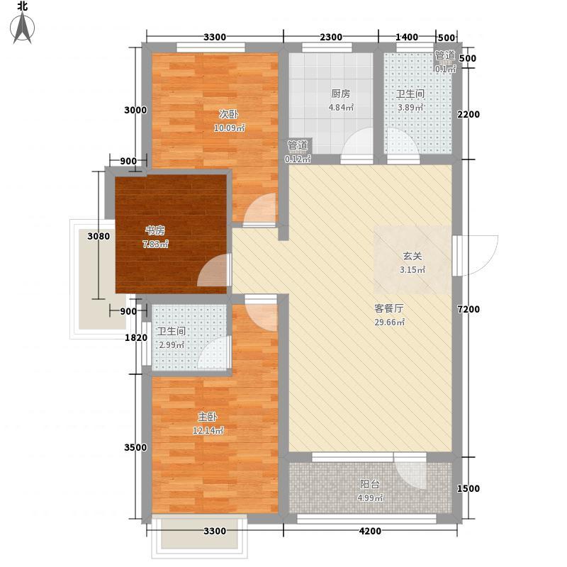 戴河水岸星城112.00㎡D-4户型2室1厅1卫1厨