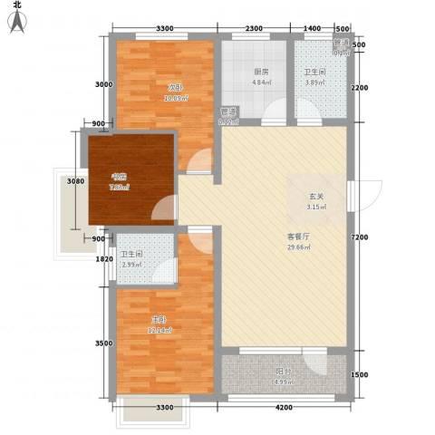 戴河水岸星城3室1厅2卫1厨112.00㎡户型图
