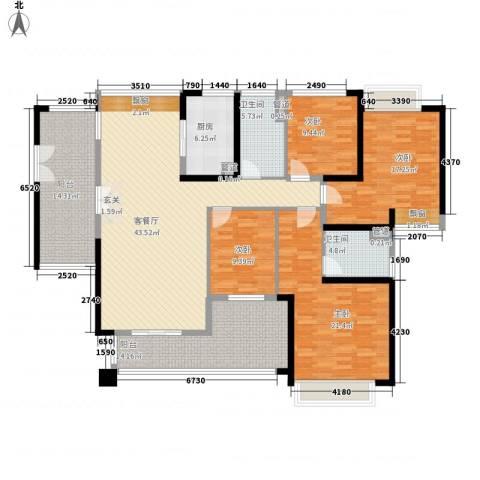 莲湖四季豪园4室1厅2卫1厨172.00㎡户型图