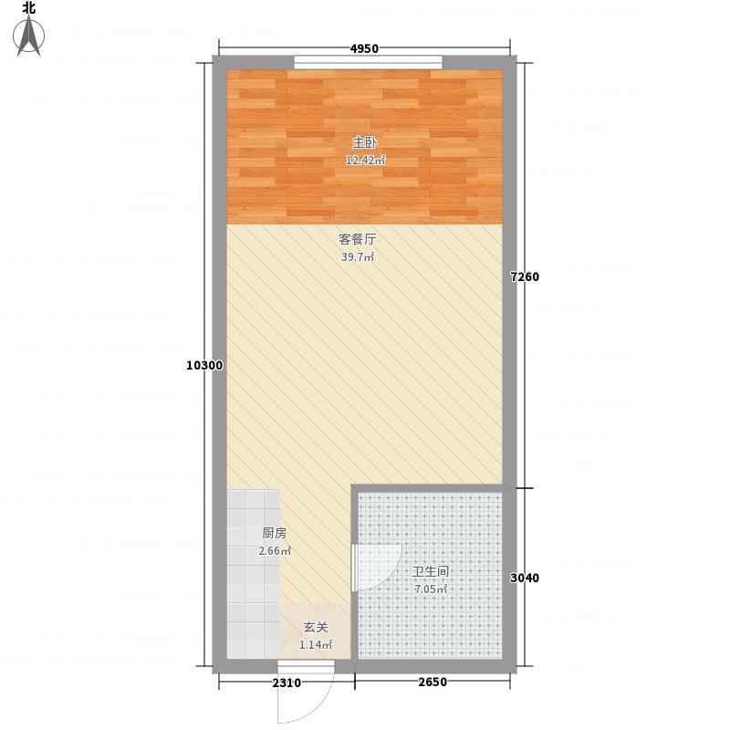 中兴64.20㎡小区公寓户型1室1厅1卫1厨
