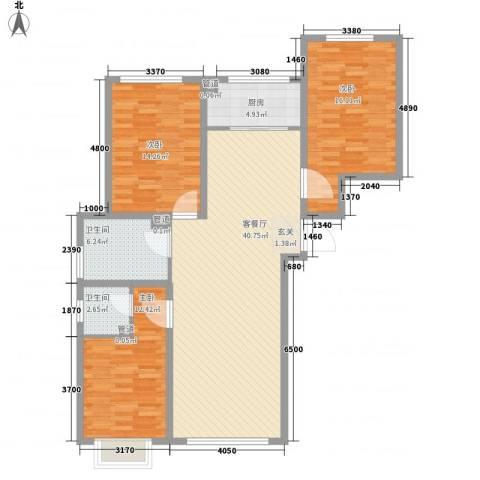 锦江花园五区3室1厅2卫1厨137.00㎡户型图