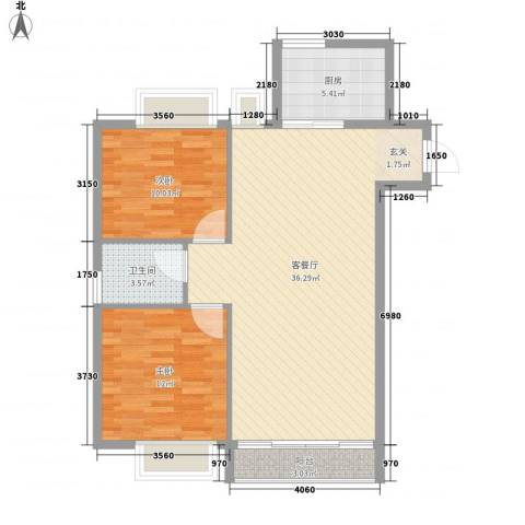 信和上筑2室1厅1卫1厨98.00㎡户型图