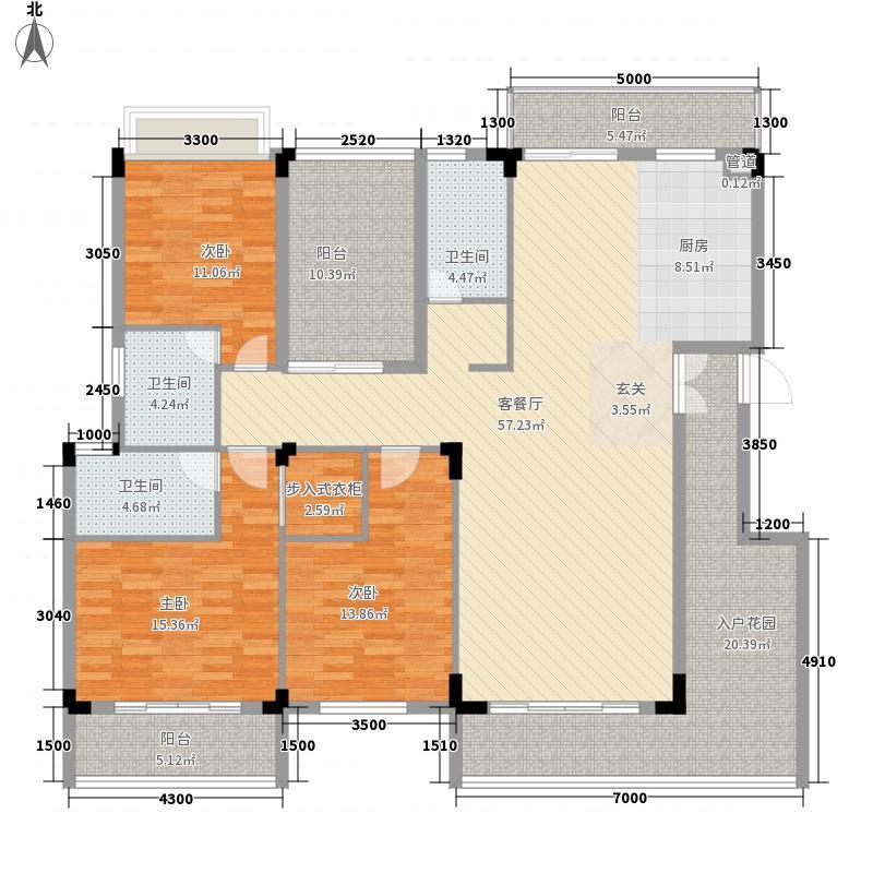 圭峰花园165.27㎡三期洋房户型3室2厅3卫2厨