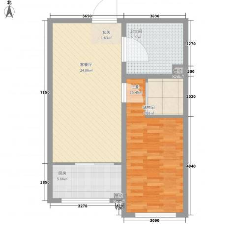 锦江花园五区1室1厅1卫1厨79.00㎡户型图