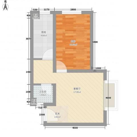 壹克拉公馆1室1厅1卫1厨45.00㎡户型图