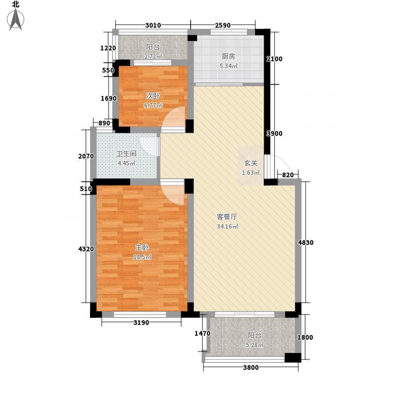 醍香湾2室1厅1卫1厨110.00㎡户型图