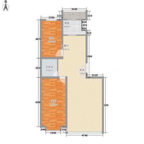 都市华尔兹2室1厅1卫1厨131.00㎡户型图