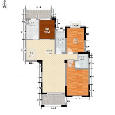 钻石铭苑3室1厅2卫1厨138.00㎡户型图