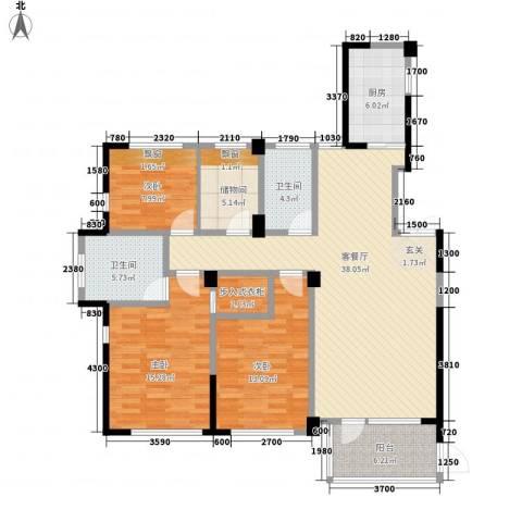 得力浅水湾3室1厅2卫1厨142.00㎡户型图