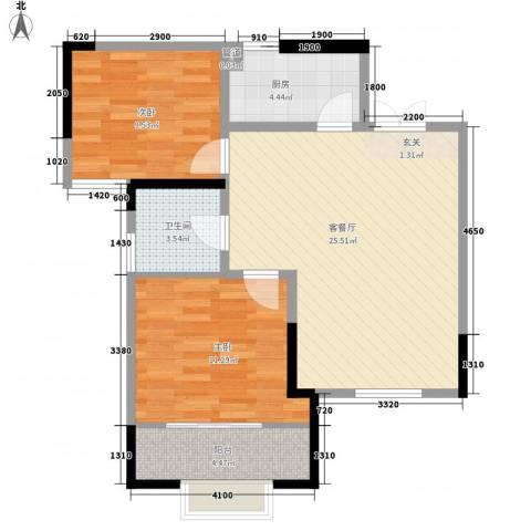 名都名泰阁2室1厅1卫1厨84.00㎡户型图