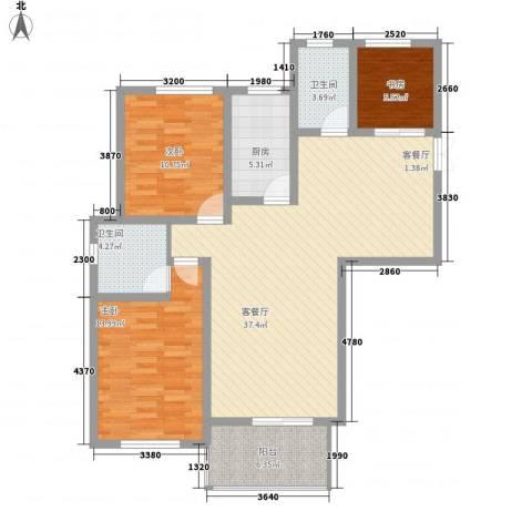 钻石铭苑3室1厅2卫1厨125.00㎡户型图