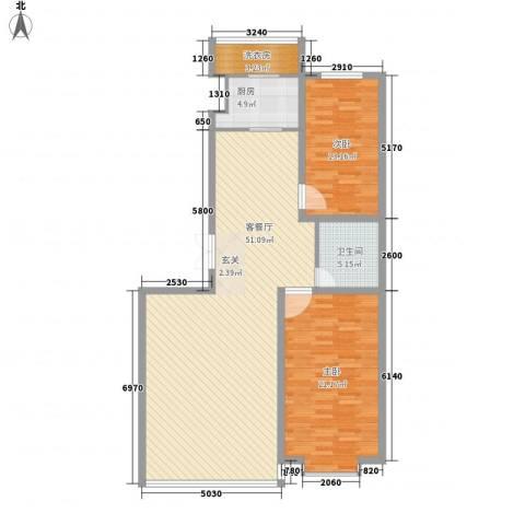 都市华尔兹2室1厅1卫1厨137.00㎡户型图