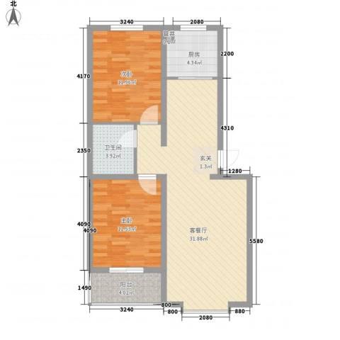 悦正碧林湾2室1厅1卫1厨96.00㎡户型图