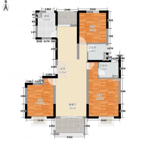 万锦豪庭3室1厅2卫1厨133.00㎡户型图