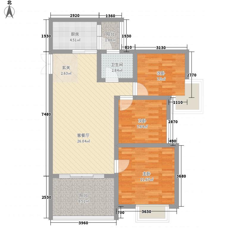 天佑山水国际103.00㎡三居室户型