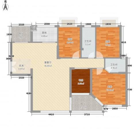华发国际花园4室1厅2卫1厨141.00㎡户型图
