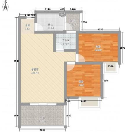 天佑山水国际2室1厅1卫1厨79.00㎡户型图