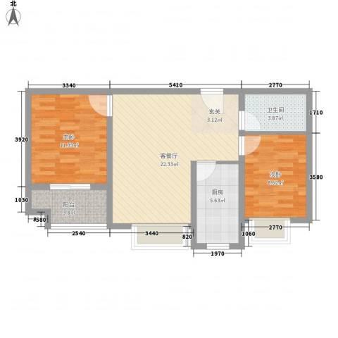 香堤小郡2季 美域2室1厅1卫1厨81.00㎡户型图