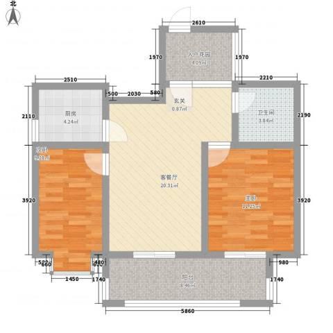 上海花园2室1厅1卫1厨90.00㎡户型图