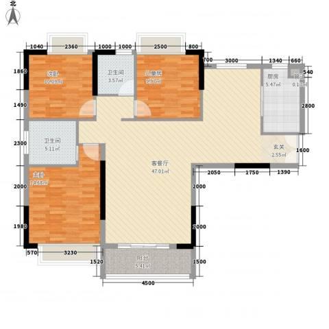 中登城市花园3室1厅2卫1厨141.00㎡户型图