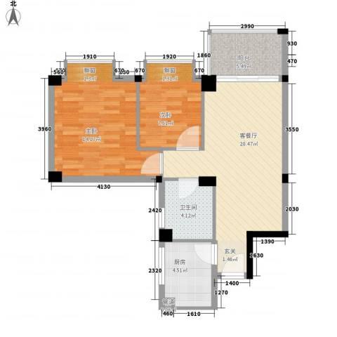 桃源明居2室1厅1卫1厨56.43㎡户型图