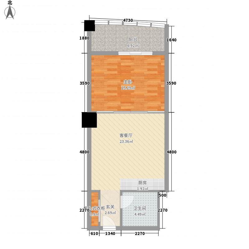 嘉汇环球广场户型图555 1室1厅1卫1厨