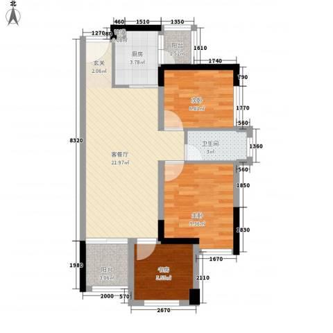金鸿利嘉阁3室1厅1卫1厨81.00㎡户型图