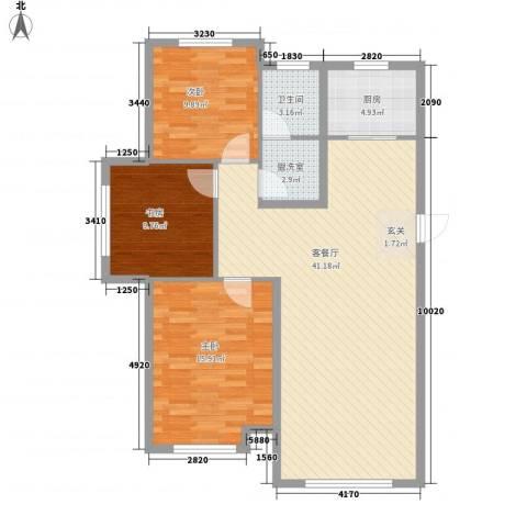 中国铁建 青秀蓝湾3室1厅1卫1厨122.00㎡户型图