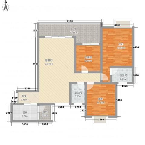 天佑山水国际3室1厅2卫1厨122.00㎡户型图