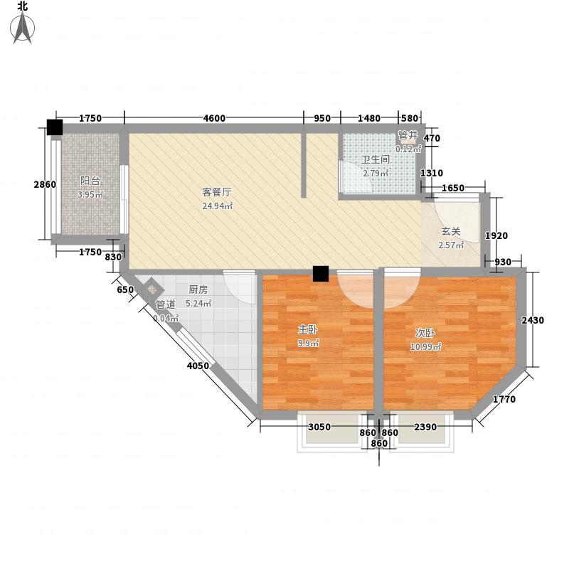 泰禾御西湖83.20㎡142-7层户型2室2厅1卫1厨