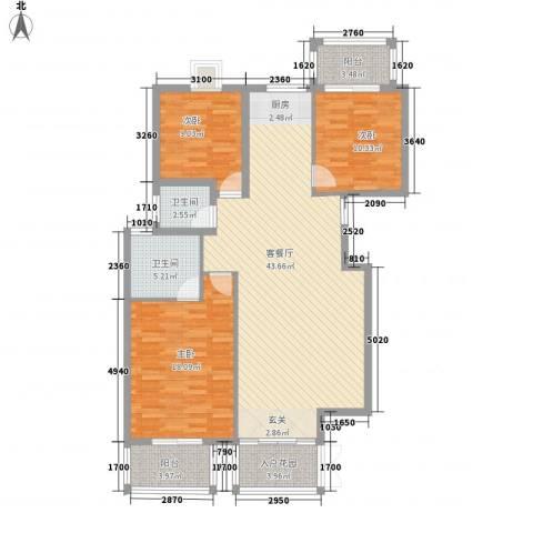 万嘉永升华庭3室1厅2卫0厨141.00㎡户型图