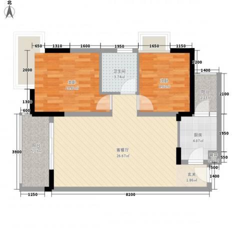 金色世纪逸城2室1厅1卫1厨65.00㎡户型图