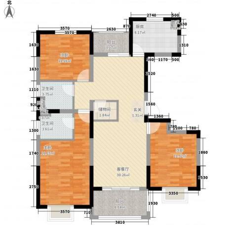 万锦豪庭3室1厅2卫1厨135.00㎡户型图