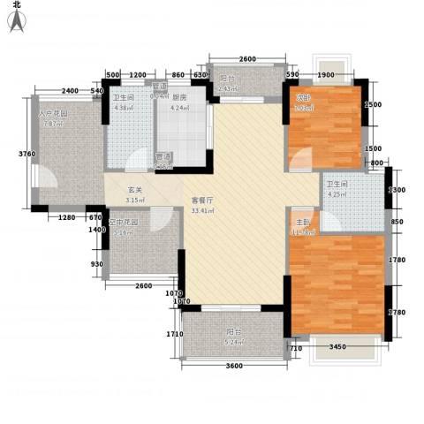 锦地繁花2室1厅2卫1厨78.10㎡户型图