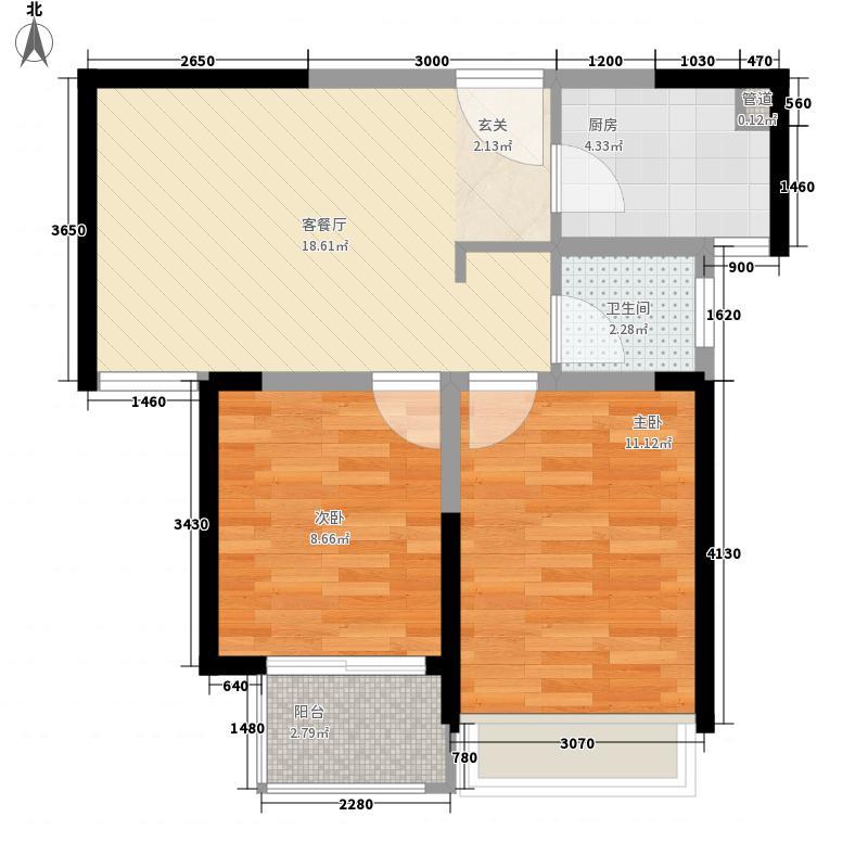 东润玺城6.00㎡A1户型2室2厅1卫1厨