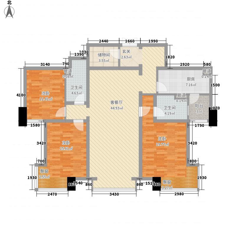 香檀一号3室1厅2卫1厨157.00㎡户型图