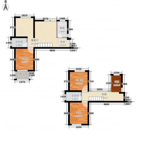 滨湖御景湾3室1厅2卫1厨86.00㎡户型图