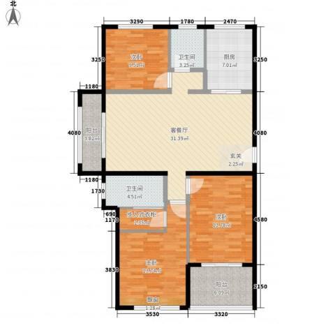 天泰华府3室1厅2卫1厨134.00㎡户型图