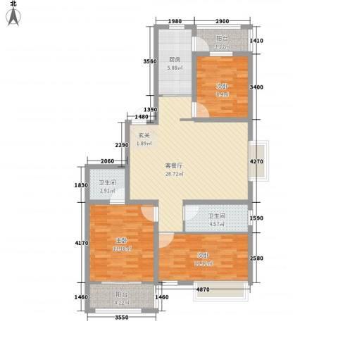 怡和四季园筑3室1厅2卫1厨118.00㎡户型图