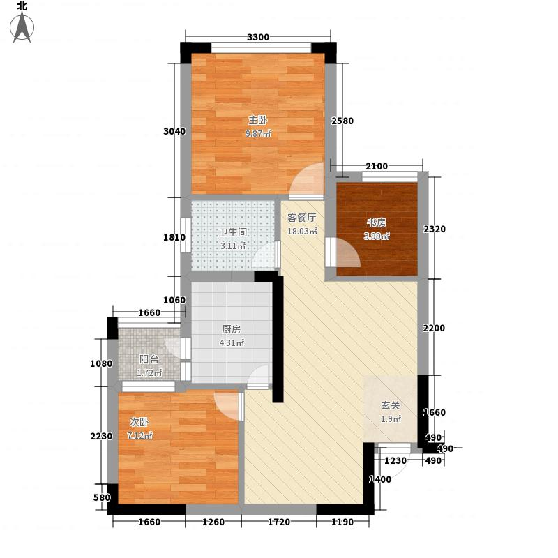 蓝光中央广场63.30㎡一期2号楼标准层B3户型2室2厅1卫1厨