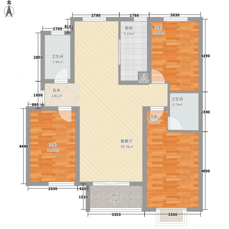 江南鸿郡128.83㎡21#A4户型3室2厅2卫1厨