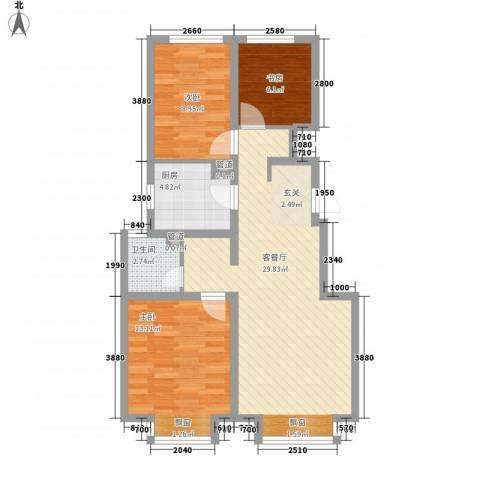 万科蓝山3室1厅1卫1厨65.71㎡户型图