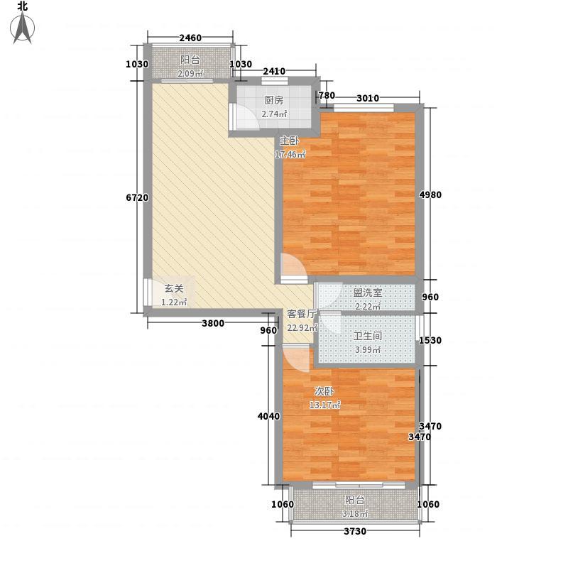 丰宁锦苑2室1厅1卫1厨67.77㎡户型图