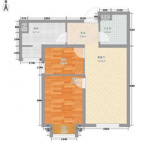 万科蓝山2室1厅1卫1厨75.00㎡户型图
